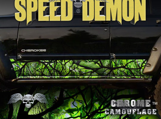 1993-2008 Jeep Cherokee Rocker Panel Wraps Camouflage Zombie Bile Camo - Speed Demon Wraps