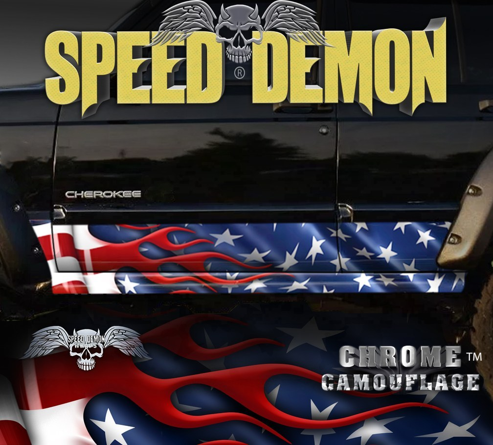 1993-2008 Jeep Cherokee Rocker Panel Wraps American Flag - Speed Demon Wraps