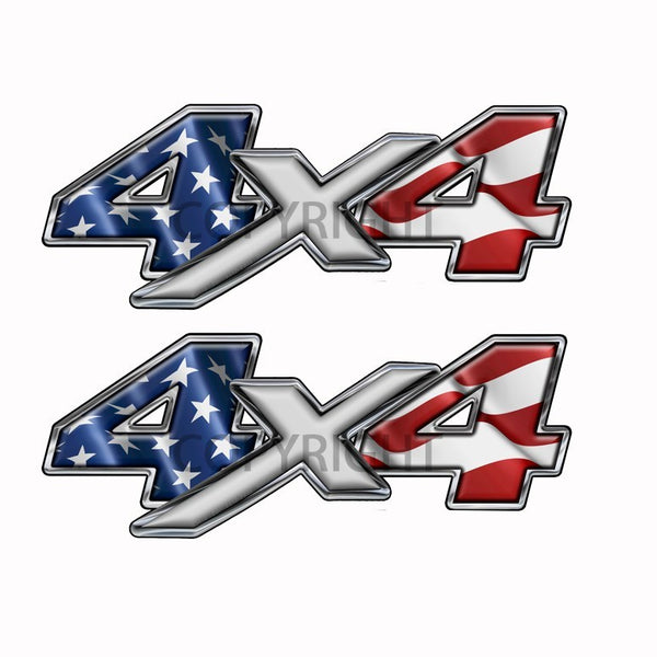 American Flag  4x4 Decal Silver X - Speed Demon Wraps