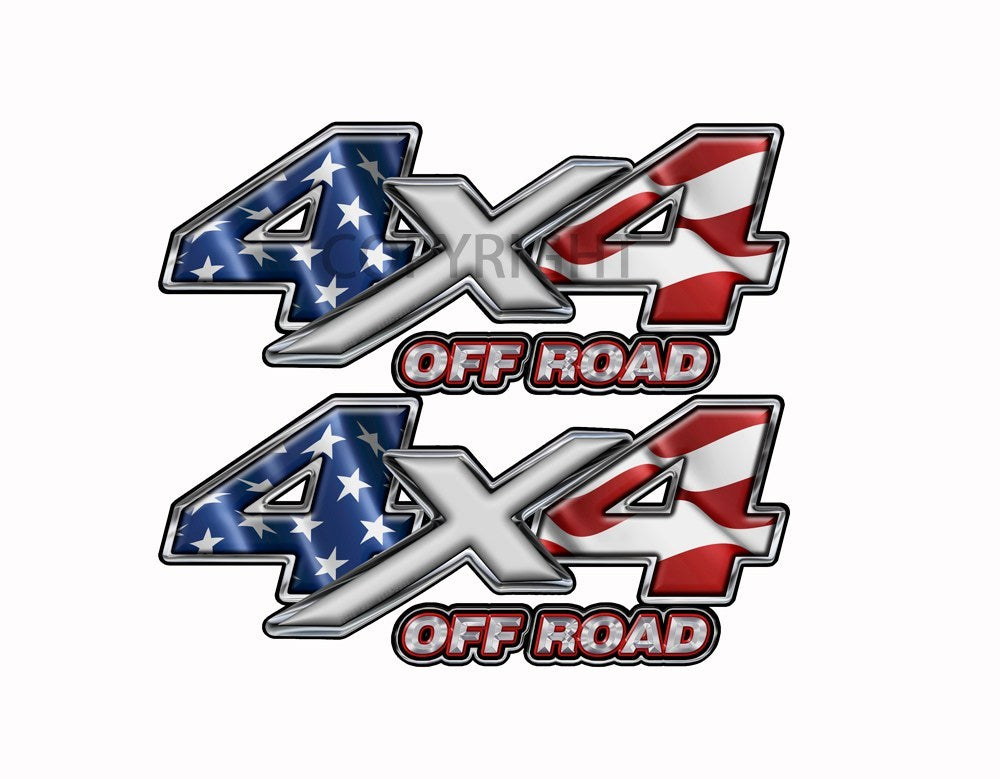 American Flag  4x4 Off Road Decal Silver X - Speed Demon Wraps