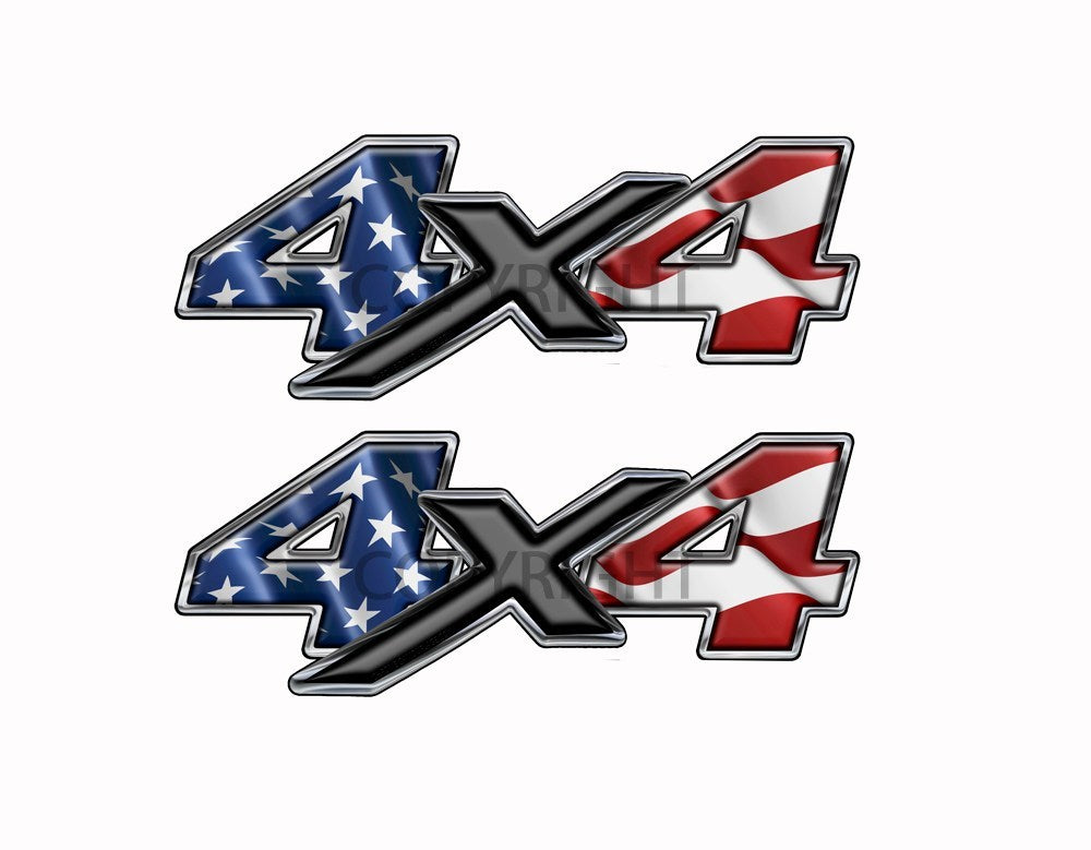 American Flag  4x4-decal Black X - Speed Demon Wraps