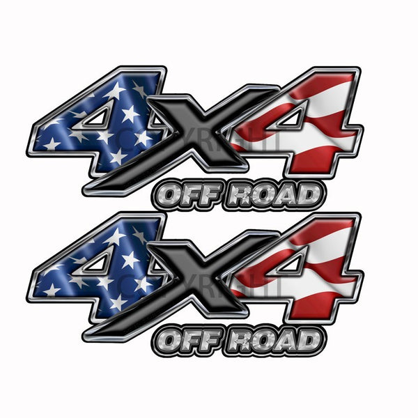 American Flag  4x4 Off Road Decal Black X - Speed Demon Wraps
