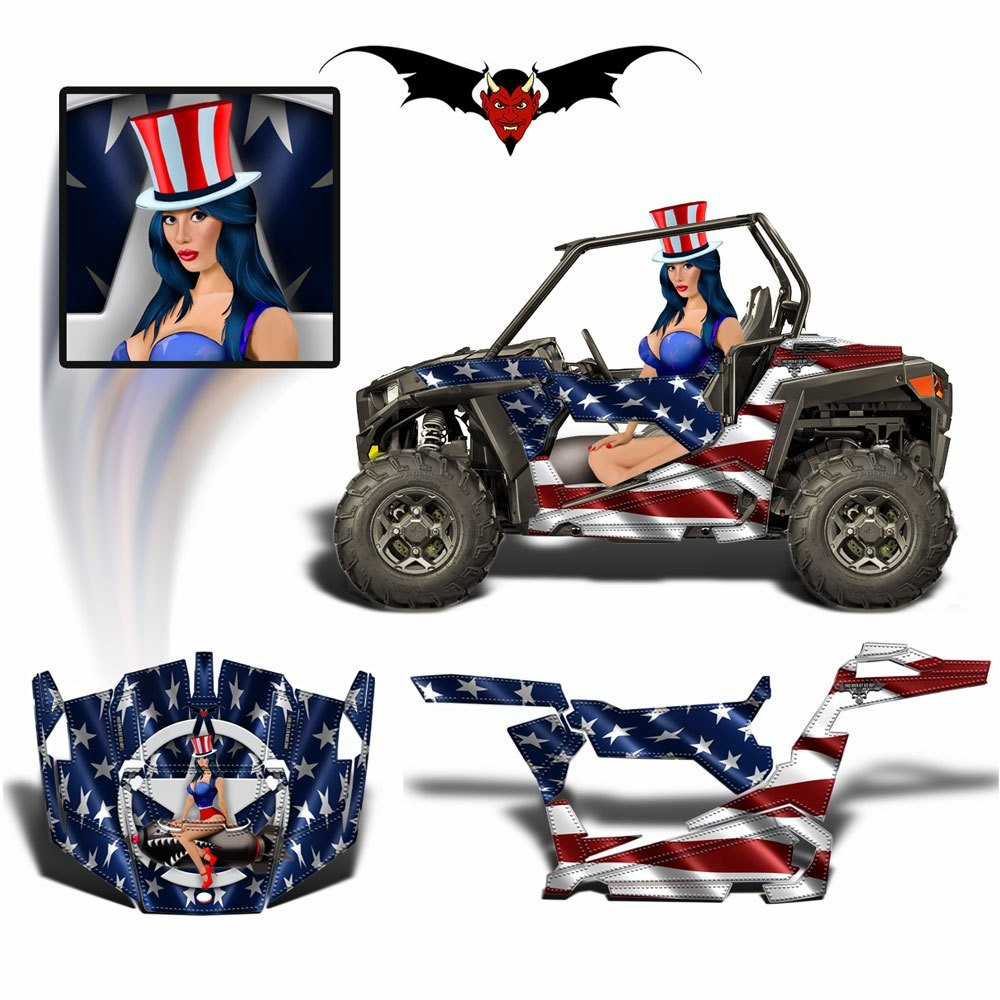 POLARIS RZR 900 XC GRAPHICS WRAP AMERICAN PIN UP - Speed Demon Wraps
