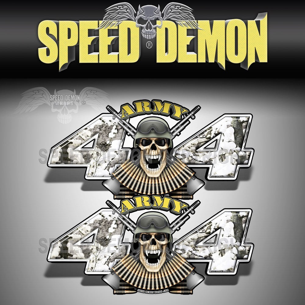 Army 4x4 Decal Skull Blizzard Snow Camo - Speed Demon Wraps