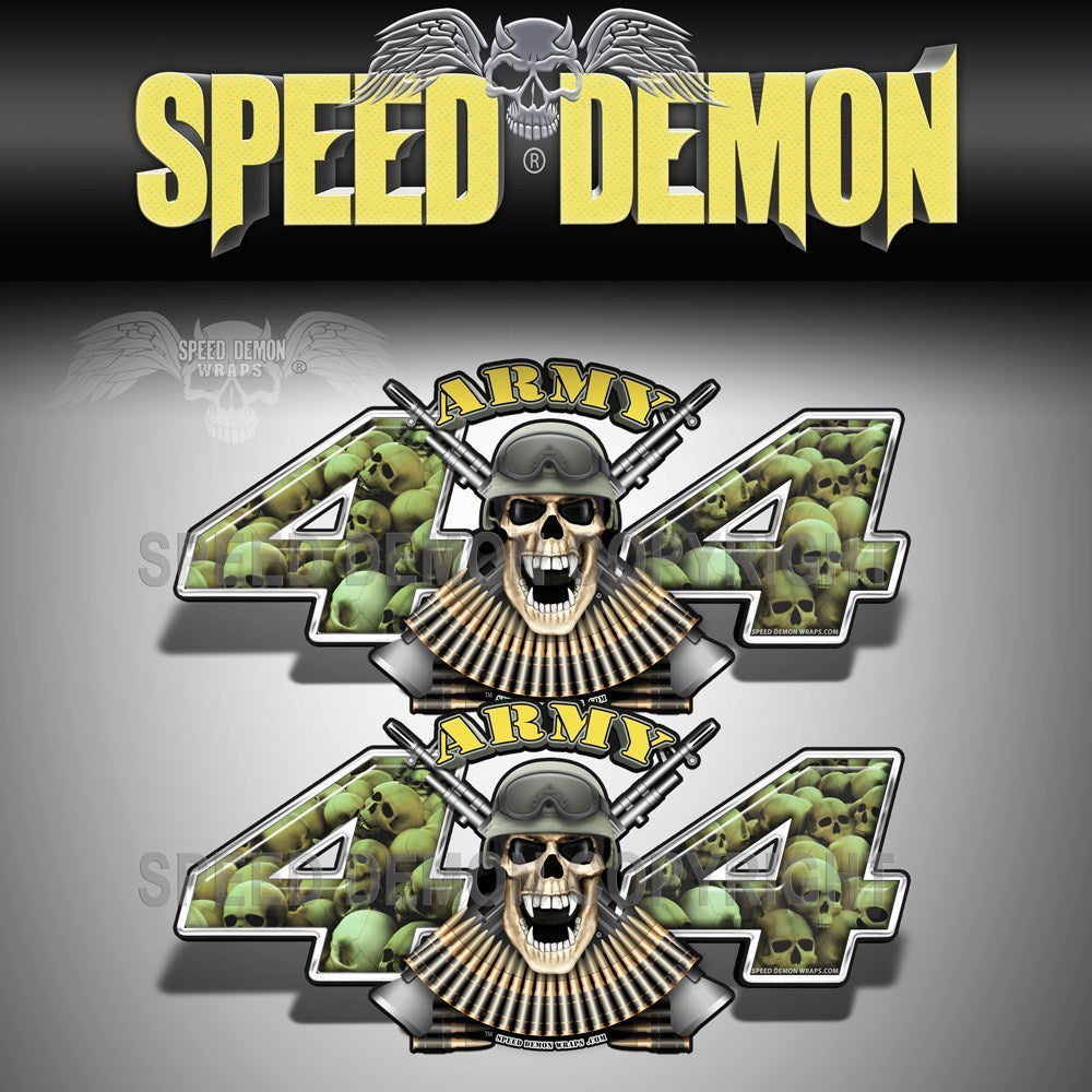 Army 4x4 Decals Skull Crusher Military Green Camo - Speed Demon Wraps