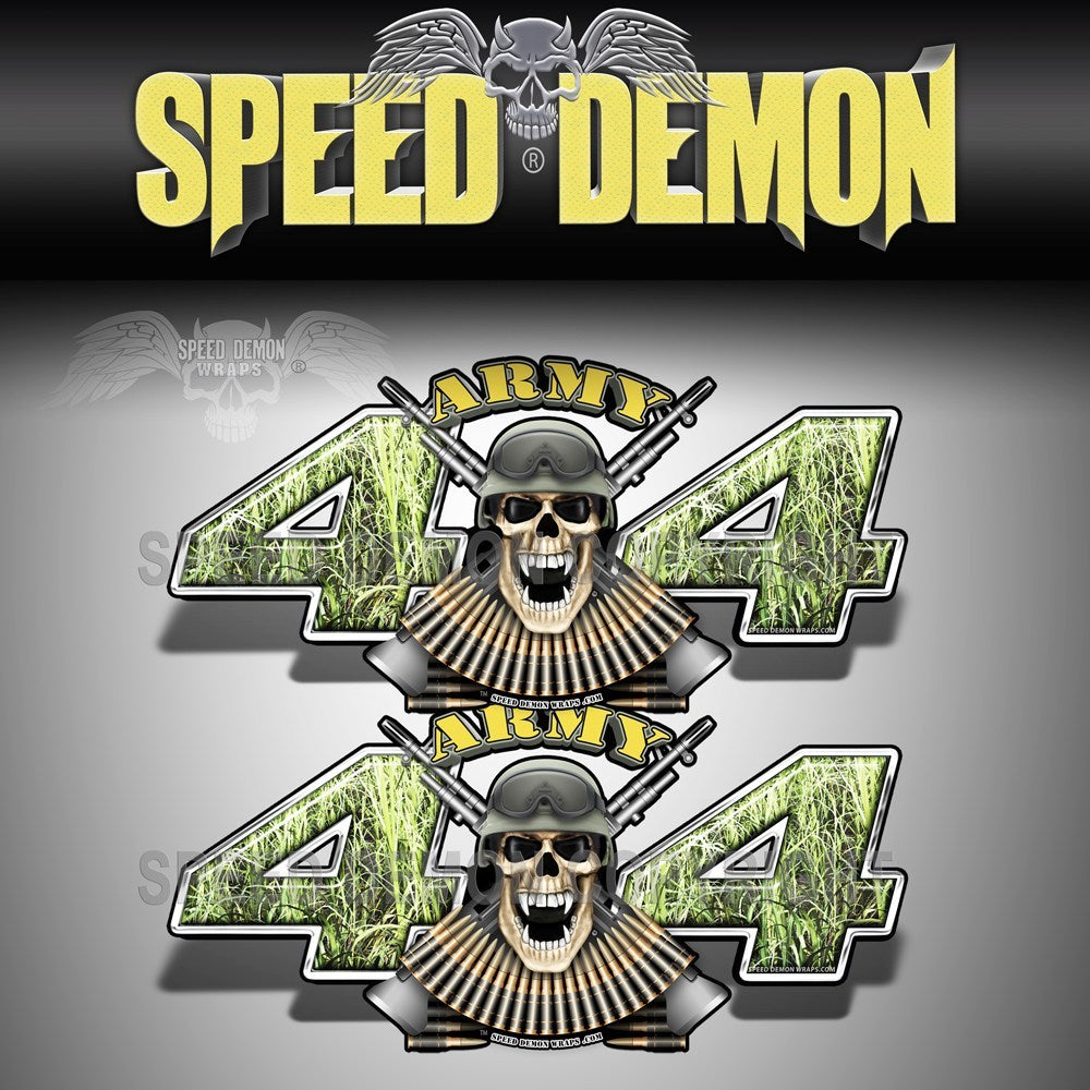 Army 4x4 Decals Skull Green Foxtail Tallgrass Camo - Speed Demon Wraps