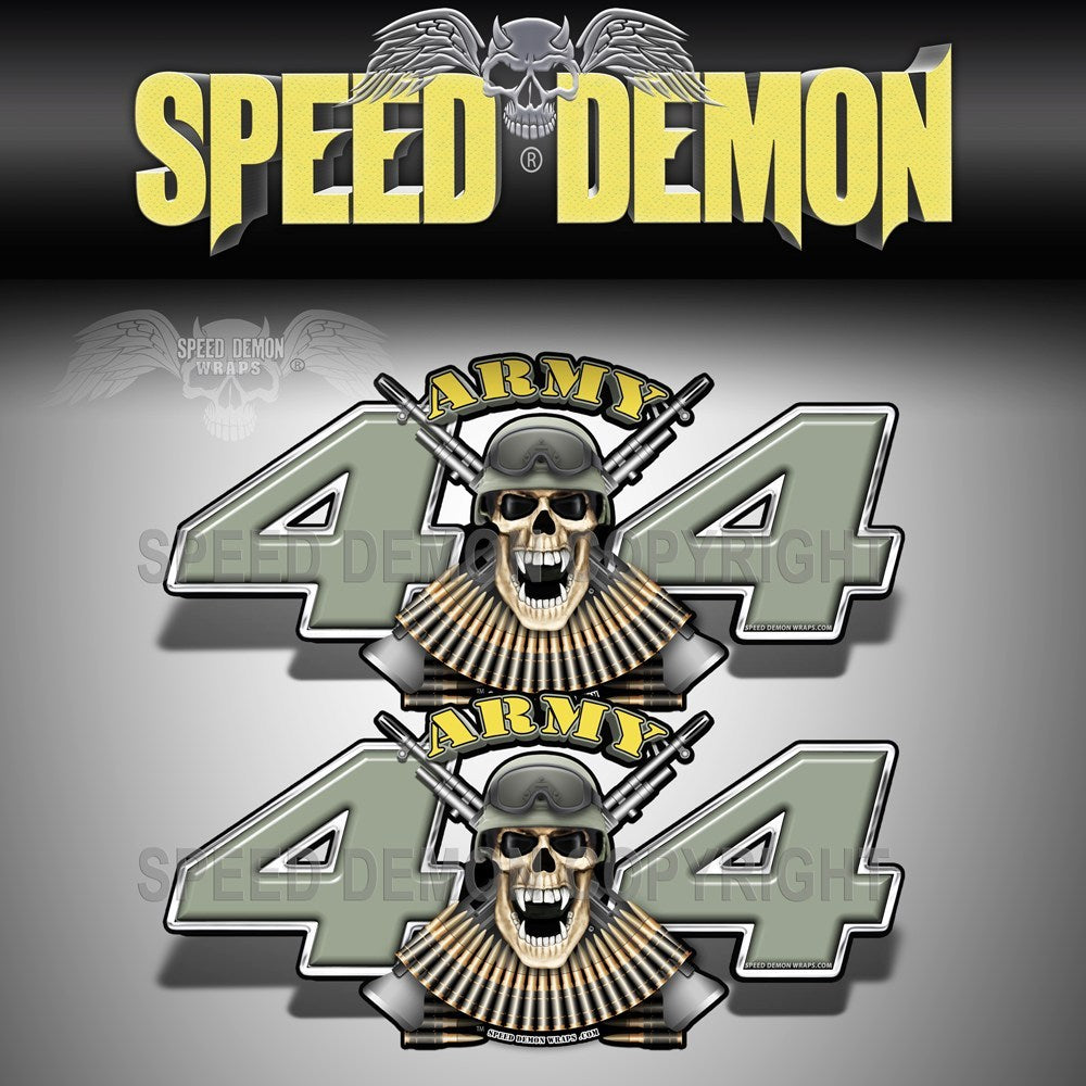 4X4 Decals Army  Skull Army Green - Speed Demon Wraps
