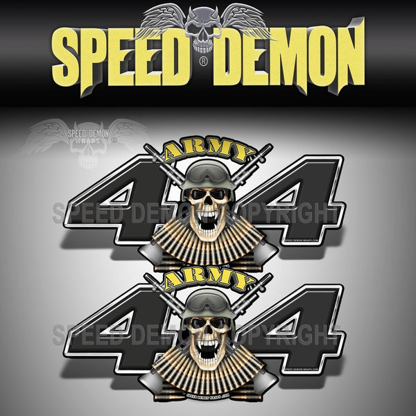 Army 4x4 Skull Army Black Decals - Speed Demon Wraps