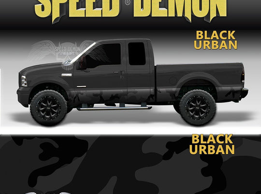 Rocker Panel Wrap Camo Kit Black Urban Camouflage - Speed Demon Wraps