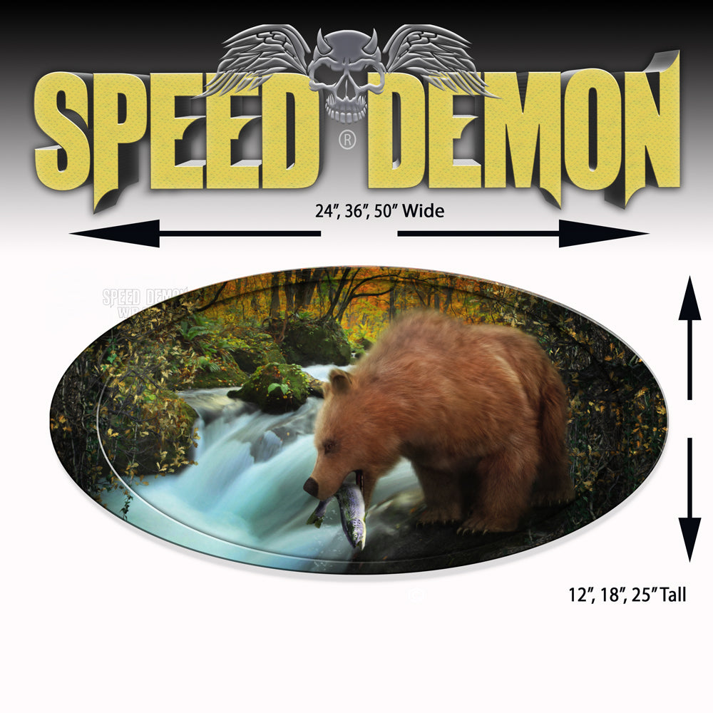 5th Wheel Trailer Graphics Bear Fishing Oval