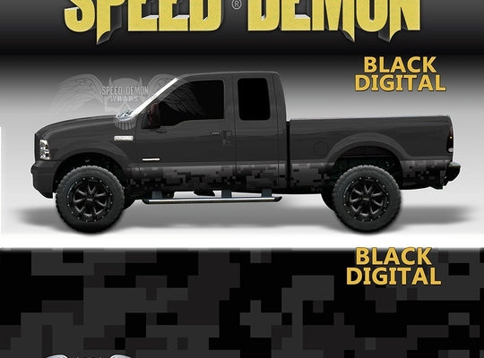 Rocker Panel Wrap Camo Kit Black Digital Camouflage - Speed Demon Wraps