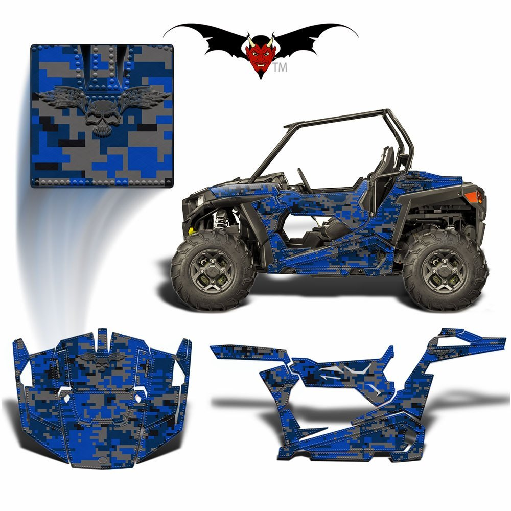 RZR 900 TRAIL GRAPHICS WRAP -  BLUE DIGITAL CAMOUFLAGE - Speed Demon Wraps