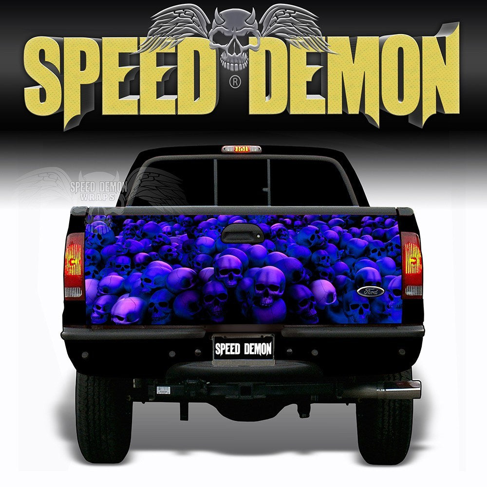 Skull Crusher Tailgate Wraps Blue