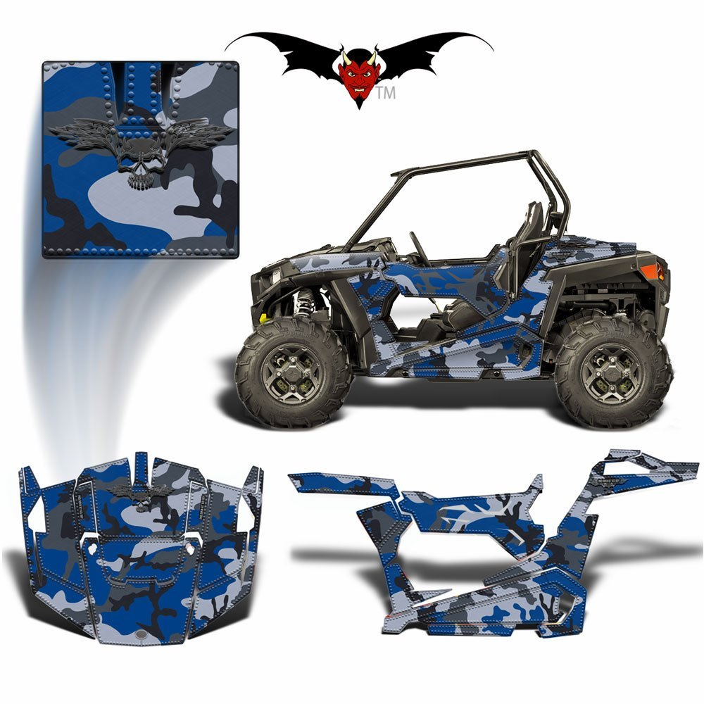 RZR 900 TRAIL GRAPHICS WRAP -  BLUE AND GRAY CAMOUFLAGE - Speed Demon Wraps