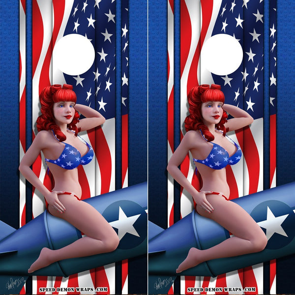 American Flag Pinup Cornhole Wrap Bombshell Betty - Speed Demon Wraps