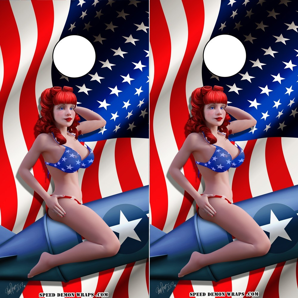 American Flag Bombshell Betty Pinup Cornhole Wrap - Speed Demon Wraps