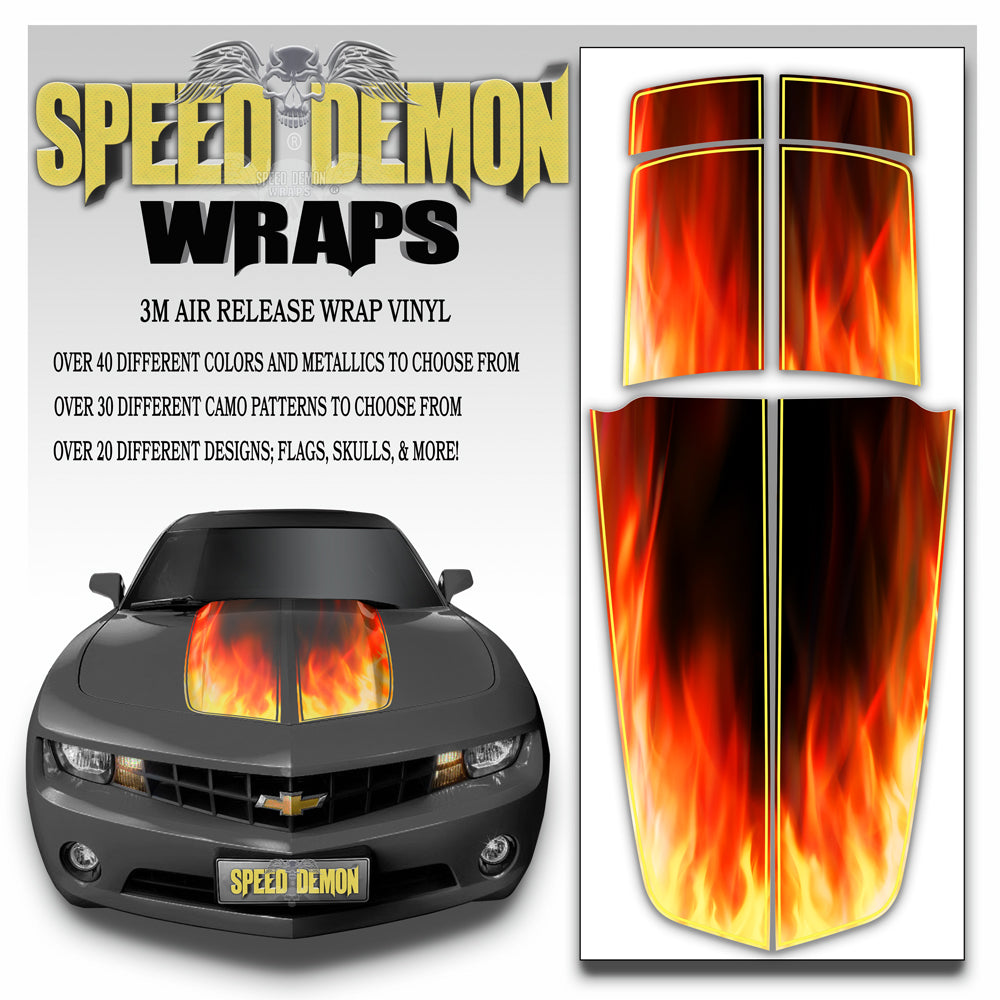 Camaro Stripes Flaming Inferno 2010-2011-2012-2013-2014-2015 With Black Pinstripe