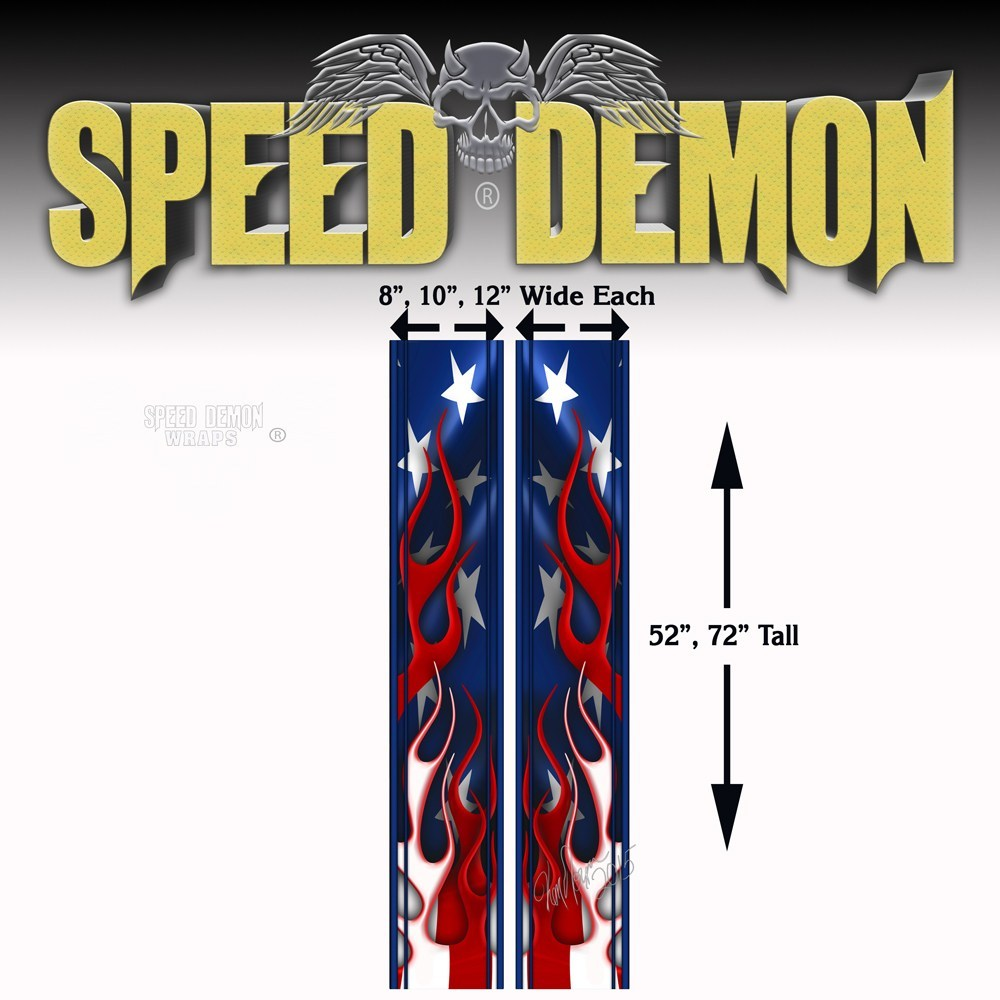 Flaming American Flag Racing Stripes - Rally Stipes - Speed Demon Wraps