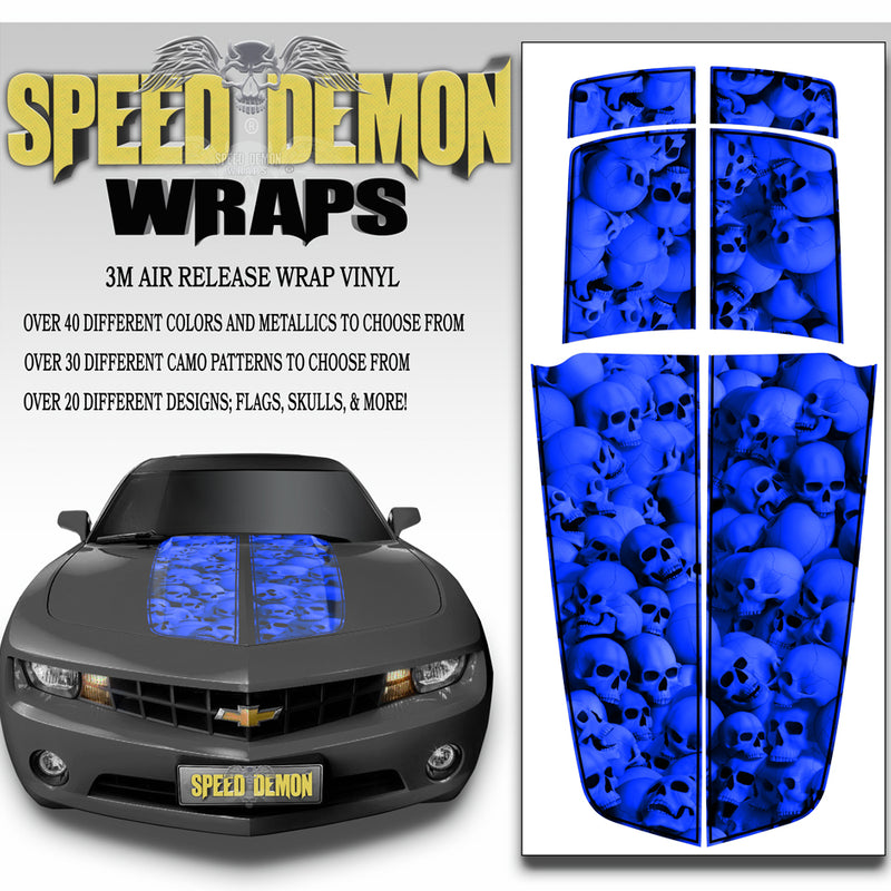 Camaro Racing Stripes DEEP BLUE SKULLS with Black Pinstripe 2010-2015