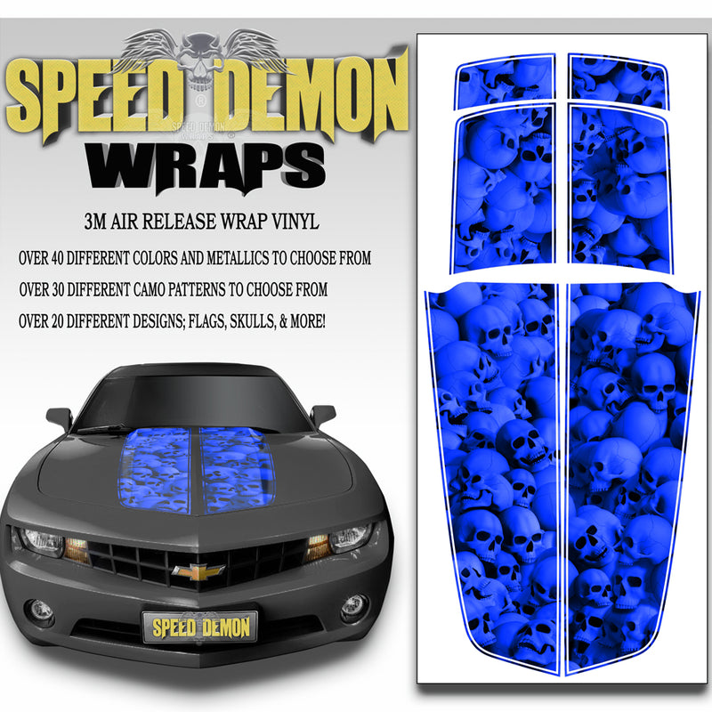2010-2015 Camaro Stripes Deep Blue Skulls 2010-2015