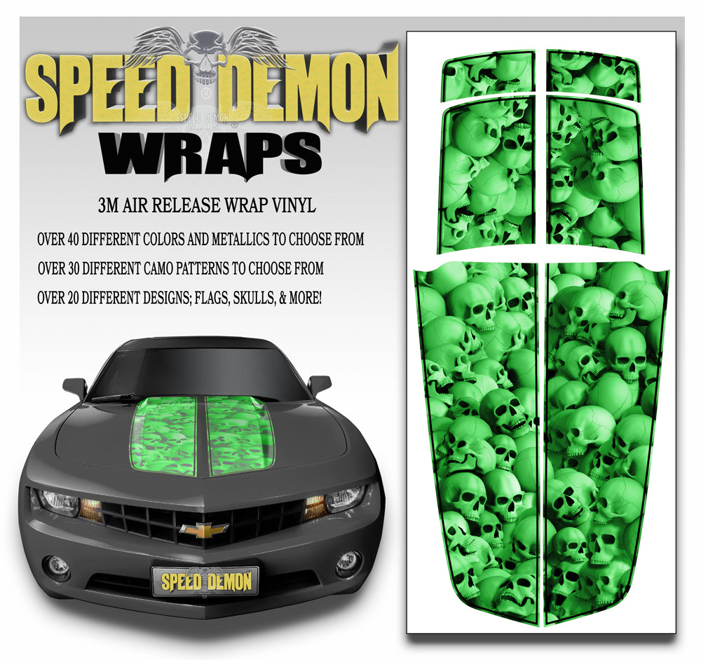Camaro Racing Stripes GREEN SKULLS with Black Pinstripe 2010-2015