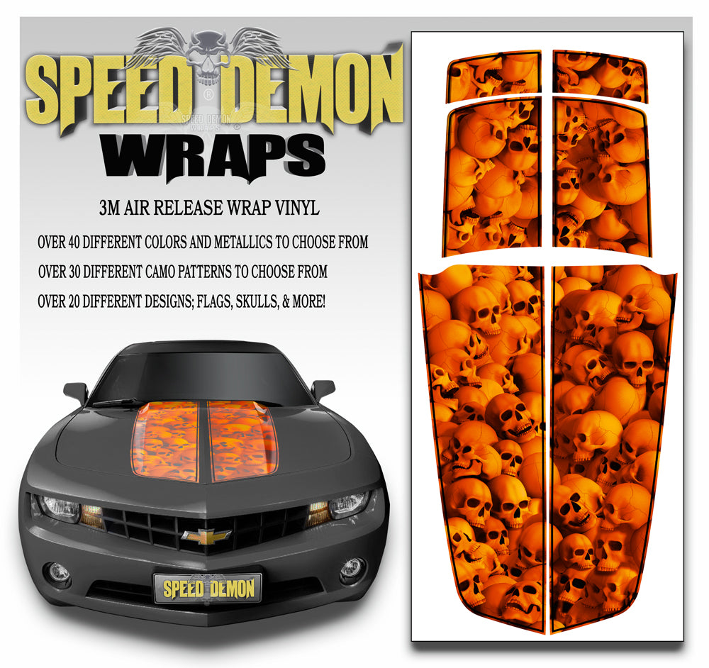 Camaro Racing Stripes CANDY ORANGE - WALL OF SKULLS with Black Pinstripe 2010-2015