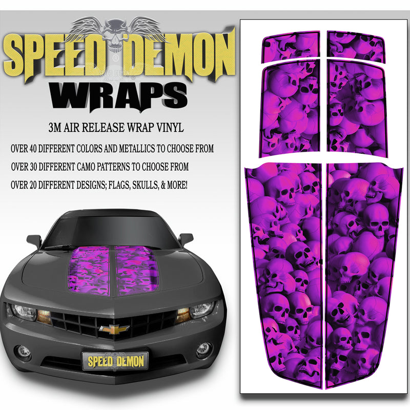 Camaro Racing Stripes FUSCHIA WALL OF SKULLS with Black Pinstripe 2010-2015