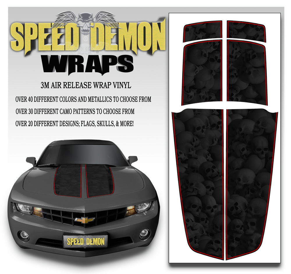 Camaro Stripes Skulls Black Heavily Ghosted W Red Pinstripe