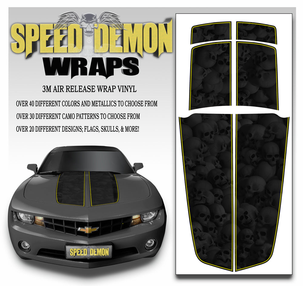 Camaro Stripes Skulls Black Heavily Ghosted W Yellow Pinstripe