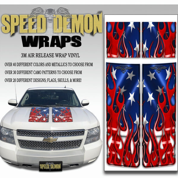 Chevrolet Avalanche Stripes - American Flag & Black Stripe 2007-2013 - Novice - Speed Demon Wraps