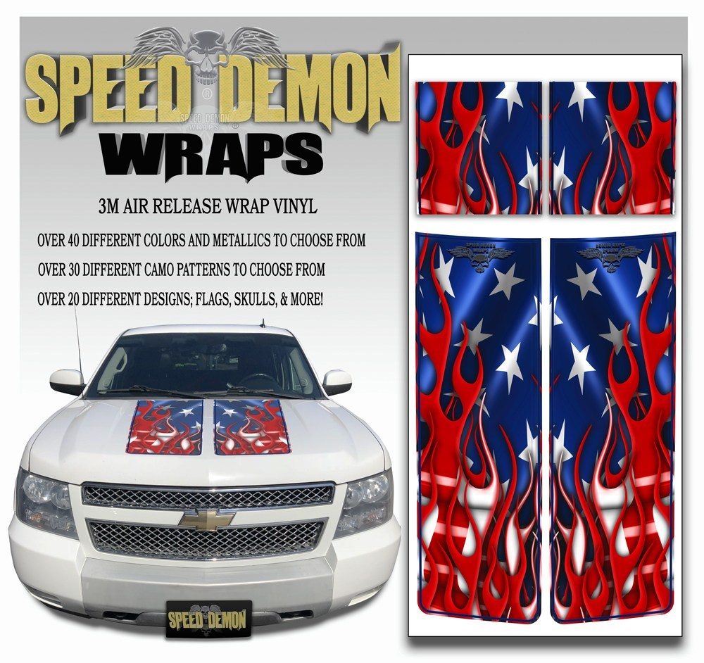 Chevrolet Avalanche Stripes - American Flag & Blue Stripe 2007-2013 - Novice - Speed Demon Wraps