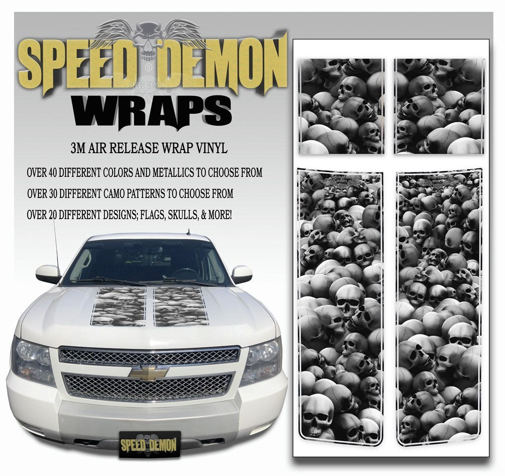 Chevrolet Avalanche Stripes - Grey Skulls 2007-2013 - Expert - Speed Demon Wraps