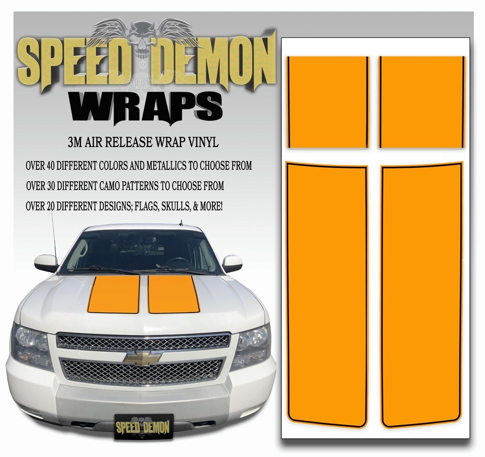 Chevrolet Avalanche Stripes - Orange & Black Stripe 2007-2013 - Novice - Speed Demon Wraps