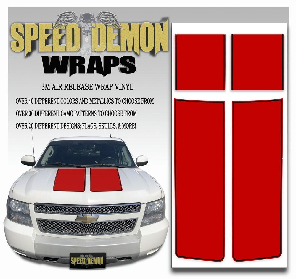 Chevrolet Avalanche Stripes - Red & Black Stripe 2007-2013 - Novice - Speed Demon Wraps