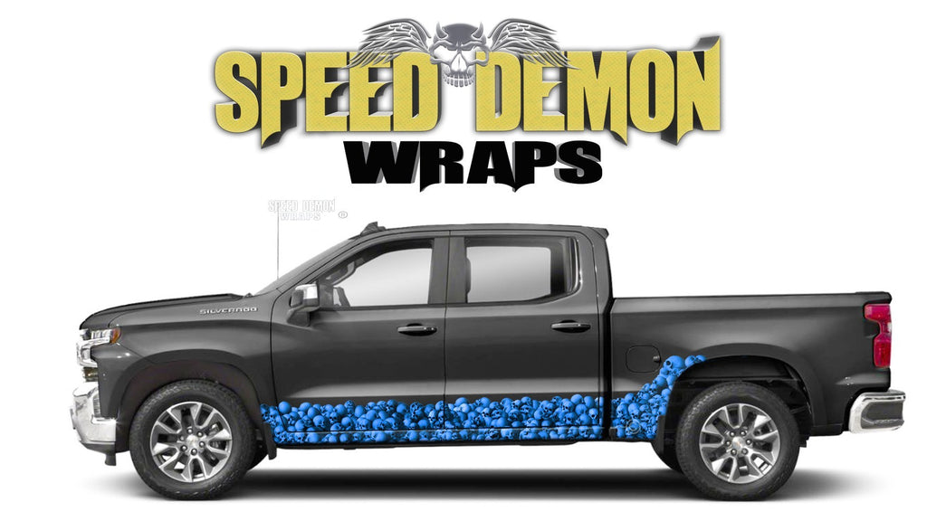 Chevy Silverado 1500 BLUE SKULL WALL Rocker Wrap Kit - Speed Demon Wraps
