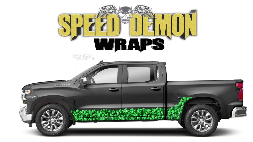 Chevy Silverado 1500 GREEN SKULL WALL Rocker Wrap Kit - Speed Demon Wraps