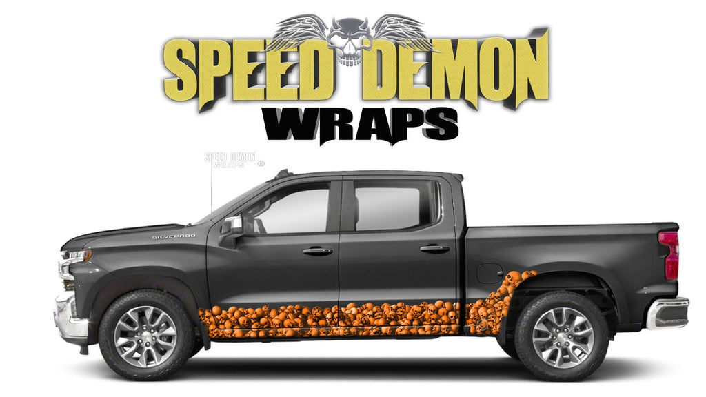 Chevy Silverado 1500 ORANGE SKULL WALL Rocker Wrap Kit - Speed Demon Wraps