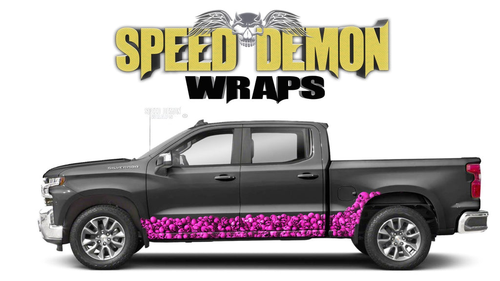 Chevy Silverado 1500 SKULL WALL Pink Rocker Wrap Kit - Speed Demon Wraps