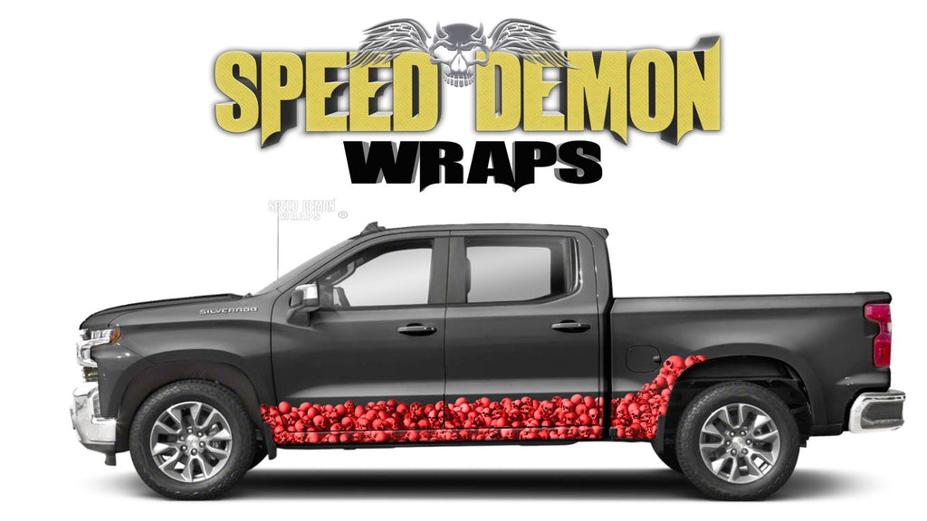 Chevy Silverado 1500 RED SKULL WALL Rocker Wrap Kit - Speed Demon Wraps
