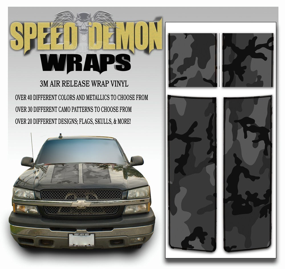 Chevy Silverado Stripes Black Urban Camo 1999-2006 Black PS - Speed Demon Wraps