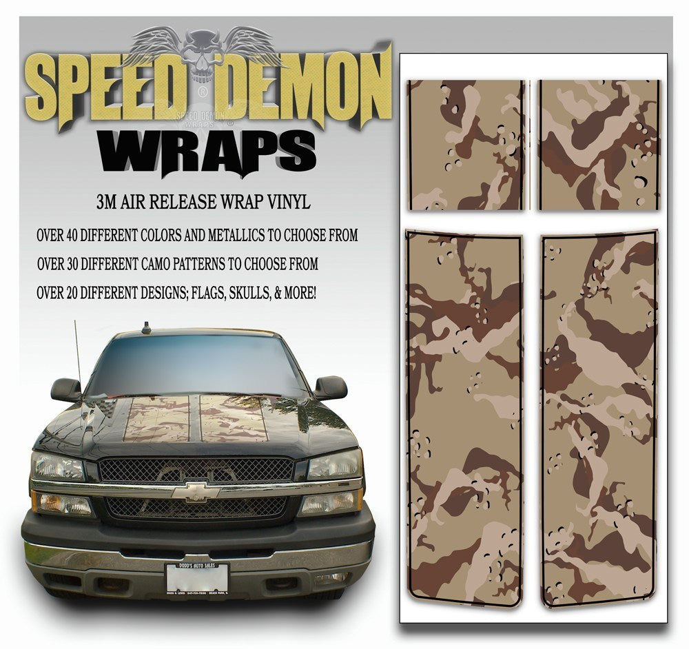 Chevy Silverado Stripes Desert Camo Black PS 2003-2005 - Speed Demon Wraps