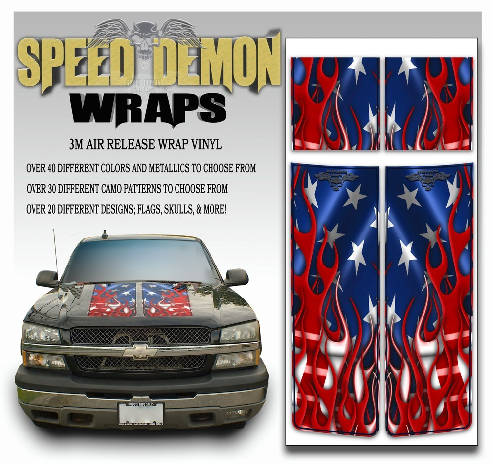 Chevy Silverado Stripes - American Flag 2003-2005 Blue PS - Speed Demon Wraps