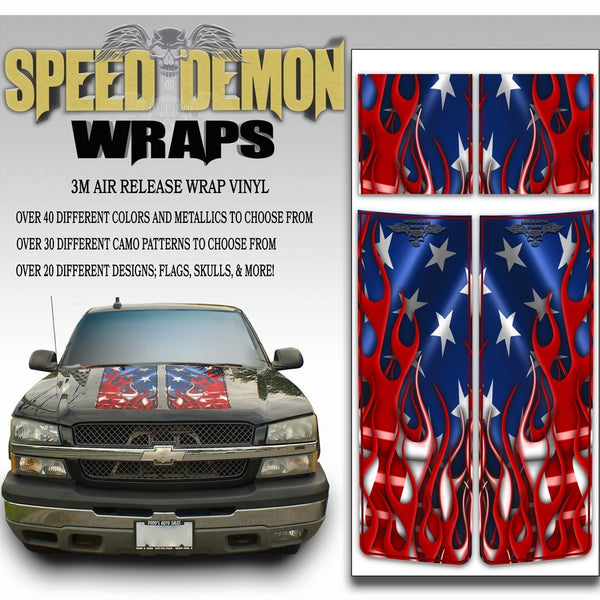 Chevy Silverado Stripes - American Flag 2003-2005 Red PS - Speed Demon Wraps