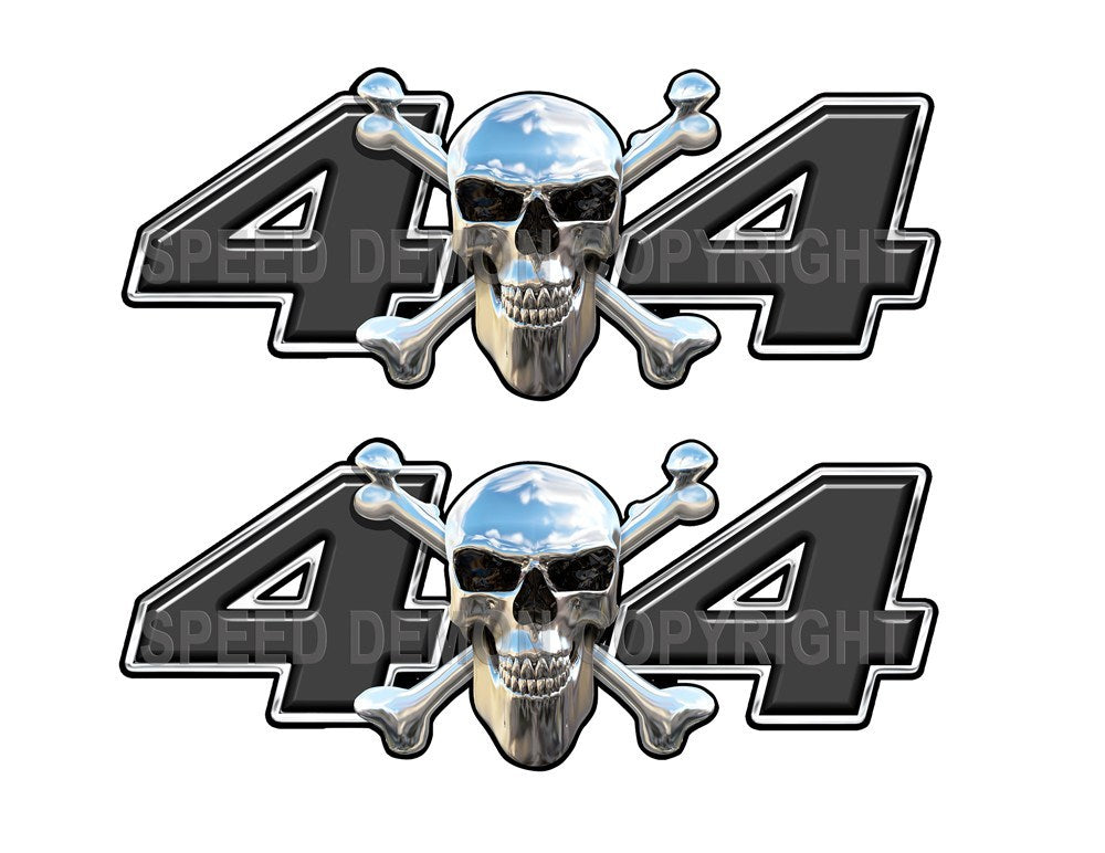 Chrome Skull 4x4 Decals Black - Speed Demon Wraps
