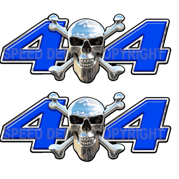 Chrome Skull 4x4 Decals Blue - Speed Demon Wraps