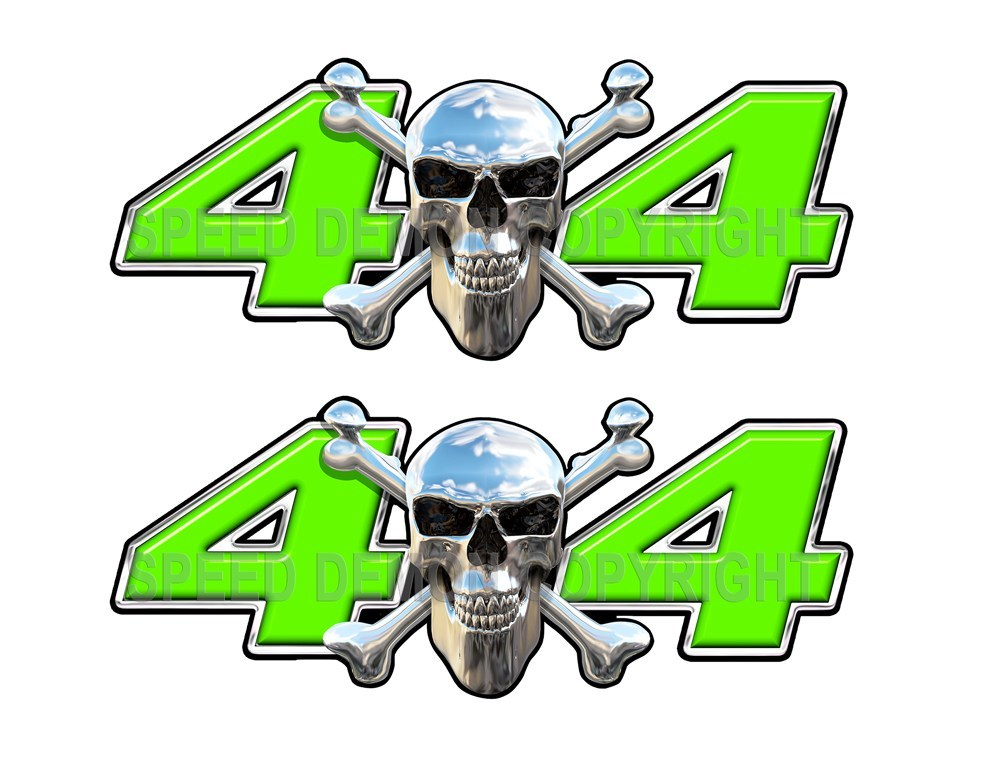 Chrome Skull 4x4 Decals Green - Speed Demon Wraps