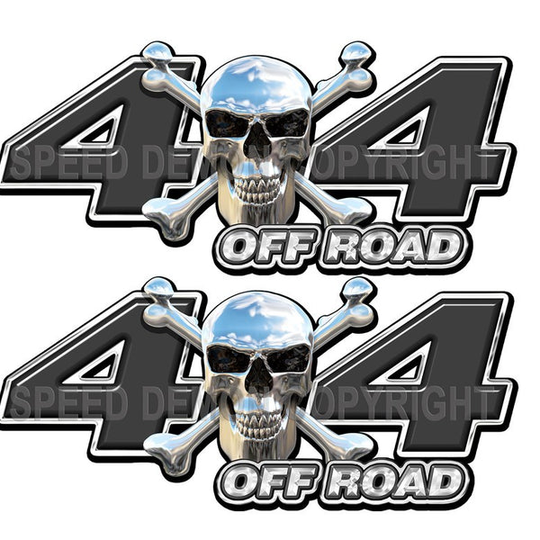 Chrome Skull 4x4 Off Road Decals Black - Speed Demon Wraps