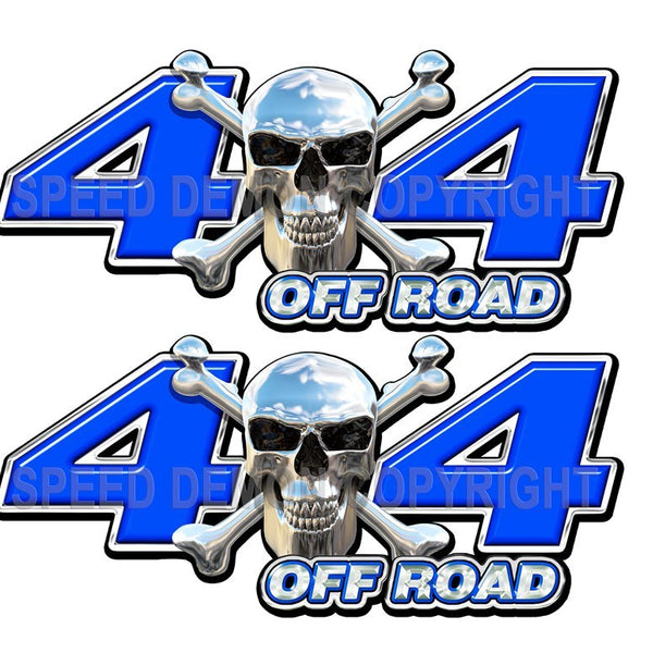 Chrome Skull 4x4 Off Road Decals Blue - Speed Demon Wraps