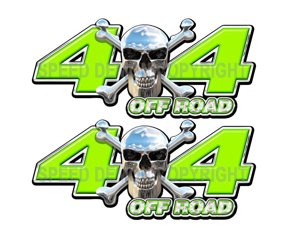 Chrome Skull 4x4 Off Road Decals Green - Speed Demon Wraps