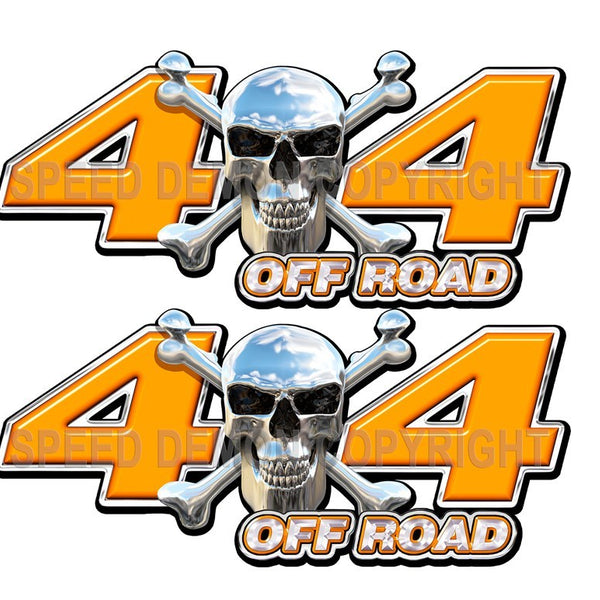 Chrome Skull 4x4 Off Road Decals Orange - Speed Demon Wraps